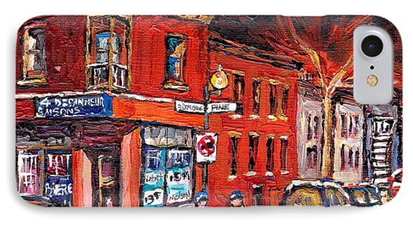 Street Hockey Night Scene Painting 4 Saisons Depanneur Rue St Dominique And Pine Montreal Scene Art IPhone Case by Carole Spandau