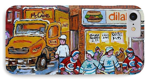 Street Hockey St Henri Dilallo Burger And Mccain's Truck Canadian Art Carole Spandau                IPhone Case by Carole Spandau