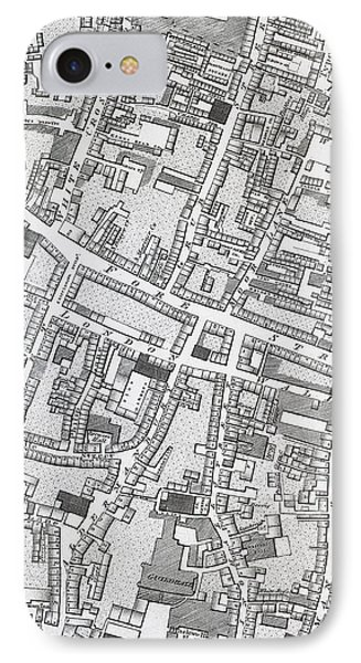 Street Map Of London Around Guildhall IPhone Case by Richard Horwood