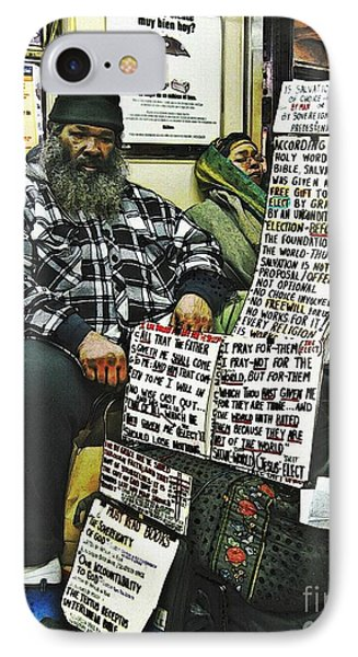 Street Preacher On The A Train Phone Case by Sarah Loft