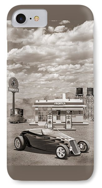 Street Rod At Frontier Station Sepia IPhone Case by Mike McGlothlen