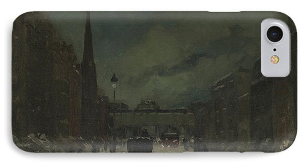 Street Scene With Snow  57th Street, Nyc IPhone Case