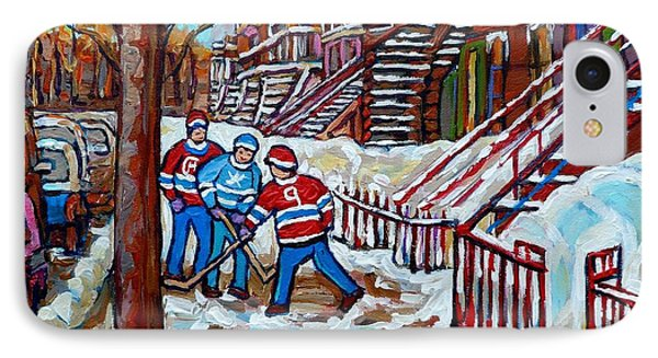 Streets Of Montreal Hometown Hockey Game Wintry Winding Staircases Canadian Art Carole Spandau       IPhone Case by Carole Spandau