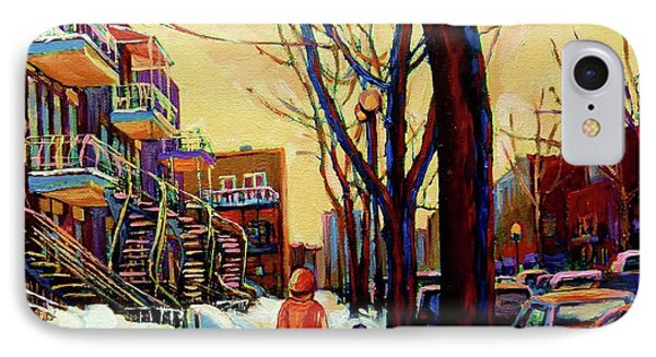 Streets Of Montreal Rue Debullion  Winter In The Plateau IPhone Case by Carole Spandau