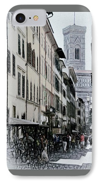 Streetscape In Florence IPhone Case by Elaine Walsh