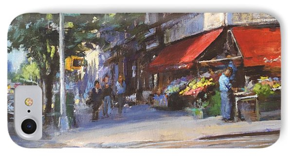 Streetscape With Red Awning - 82nd Street Market Phone Case by Peter Salwen