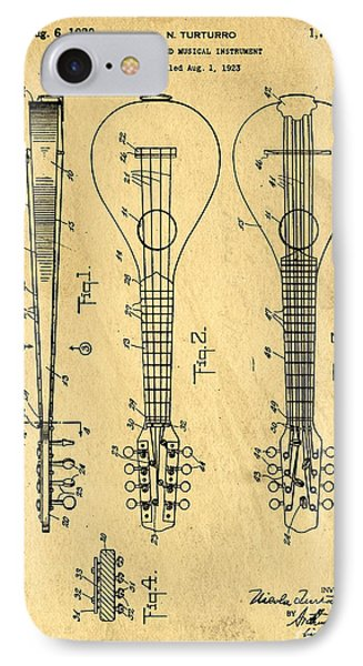 Stringed Musicial Instrument Patent Art Blueprint Drawing IPhone Case by Edward Fielding