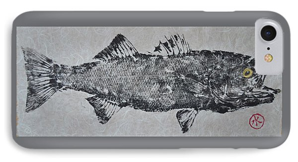 Striped Bass On Bright White Thai Unryu / Mulberry Paper IPhone Case by Jeffrey Canha