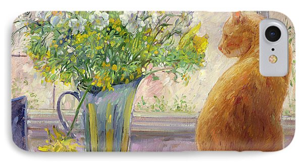 Striped Jug With Spring Flowers IPhone Case by Timothy Easton