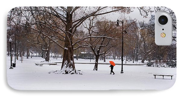 Strolling The Boston Public Garden On A Snowy Morning Boston Ma IPhone Case by Toby McGuire