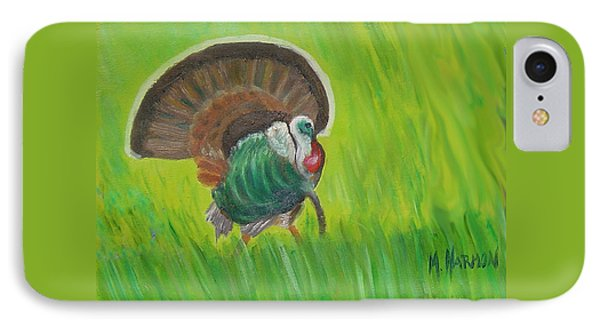Strutting Turkey In The Grass IPhone Case by Margaret Harmon