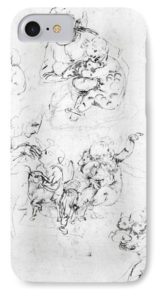 Studies For A Madonna With A Cat IPhone Case by Leonardo da Vinci