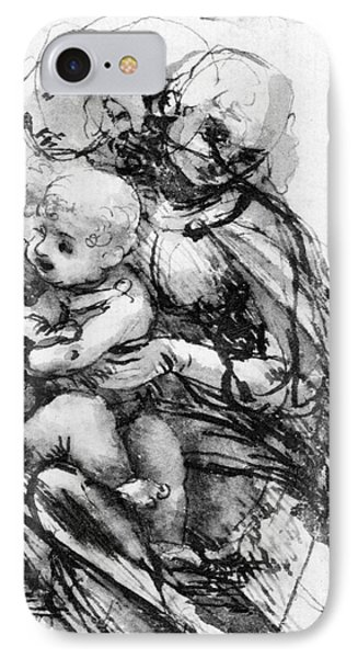 Study For A Madonna With A Cat IPhone Case