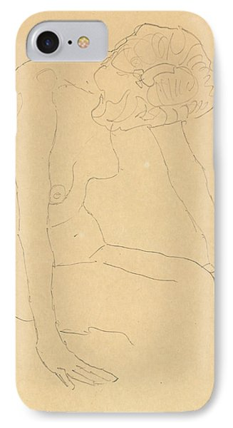 Study Of A Female Nude IPhone Case by Gustav Klimt
