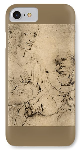 Study Of A Madonna And Child IPhone Case by Leonardo Da Vinci