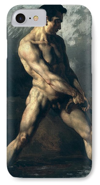 Study Of A Male Nude Phone Case by Theodore Gericault