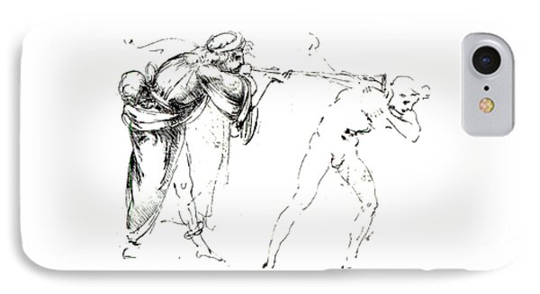 Study Of A Man Blowing A Trumpet In Another's Ear IPhone Case by Leonardo da Vinci