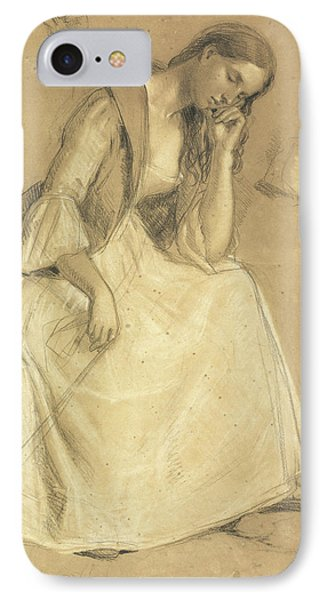 Study Of A Seated Girl IPhone Case by Charles Cope West