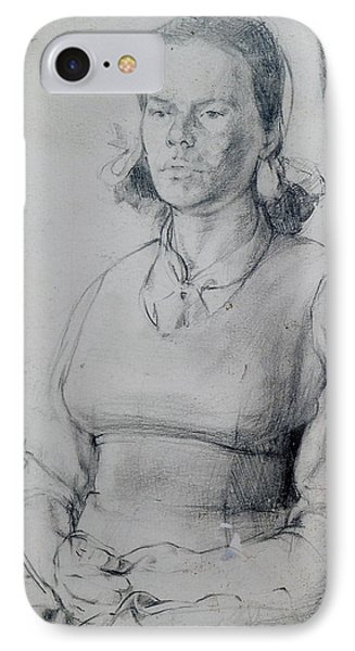 Study Of A Seated Girl. Phone Case by Harry Robertson