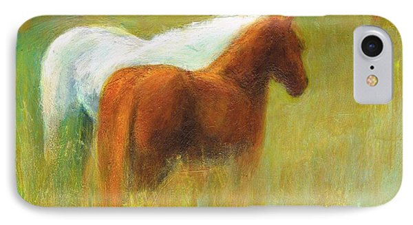 IPhone Case featuring the painting Study Of Two Ponies by Frances Marino