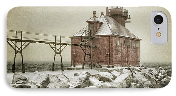 Sturgeon Bay Pierhead Storm Phone Case by Joan Carroll