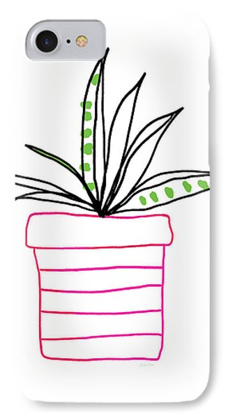 IPhone Case featuring the mixed media Succulent In A Pink Pot- Art By Linda Woods by Linda Woods