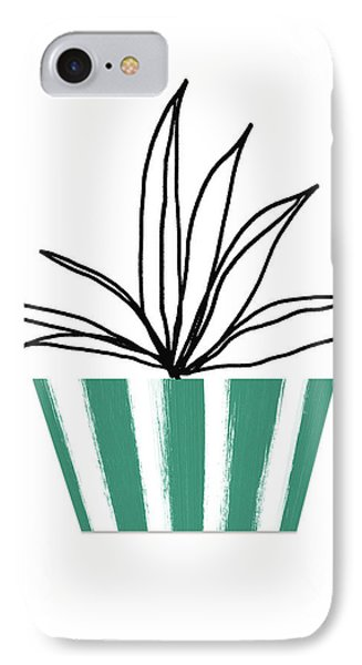 IPhone Case featuring the mixed media Succulent In Green Pot 3- Art By Linda Woods by Linda Woods