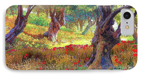 Tranquil Grove Of Poppies And Olive Trees IPhone Case by Jane Small