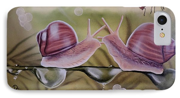 Sue And Sammy Snail IPhone Case by Dianna Lewis