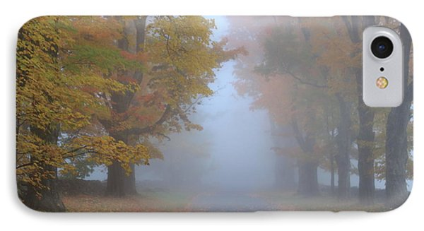 Sugar Maples On A Misty Country Road IPhone Case by John Burk