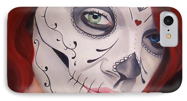 Sugar Skull Girl #1 IPhone Case by Brian Broadway