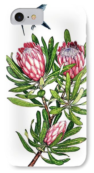 IPhone Case featuring the painting Sugarbush And The Humming Bird by Heidi Kriel