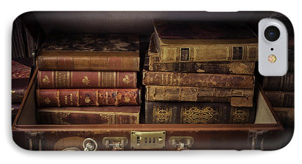 Suitcase Full Of Books IPhone Case by Garry Gay
