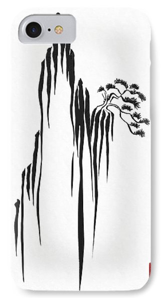 Sumi-e - Bonsai - One IPhone Case by Lori Grimmett