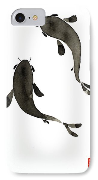 Sumi-e - Koi - One IPhone Case by Lori Grimmett