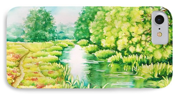 IPhone Case featuring the painting Summer Along The Creek by Inese Poga