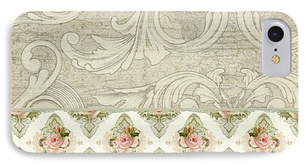 Summer At The Cottage - Vintage Style Damask Rose Border IPhone Case by Audrey Jeanne Roberts