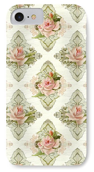 Summer At The Cottage - Vintage Style Damask Roses IPhone Case by Audrey Jeanne Roberts