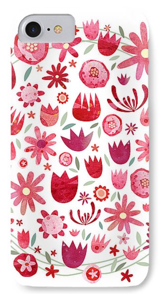 Summer Flower Circle IPhone Case by Nic Squirrell