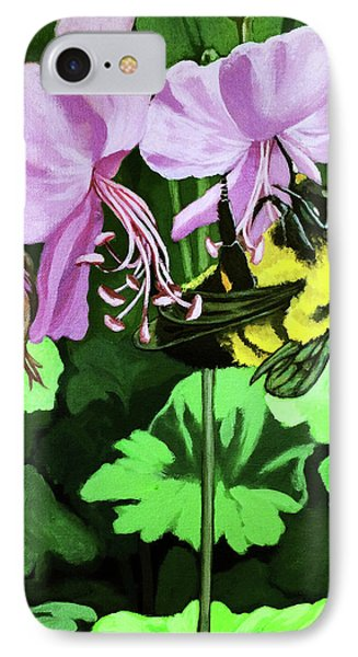 IPhone Case featuring the painting Summer Garden Bumblebee And Flowers Nature Painting by Linda Apple
