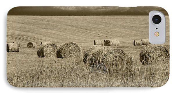 Summer Harvest Field With Hay Bales In Sepia IPhone Case by Randall Nyhof