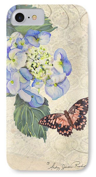 Summer Memories - Blue Hydrangea N Butterfly IPhone Case by Audrey Jeanne Roberts