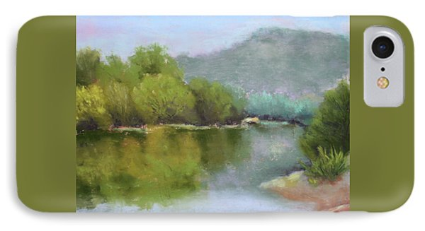 IPhone Case featuring the painting Summer On The River by Nancy Jolley