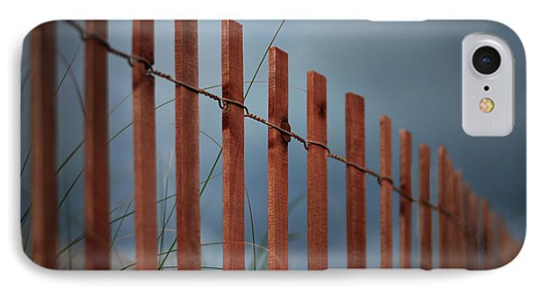 IPhone Case featuring the photograph Summer Storm Beach Fence by Laura Fasulo