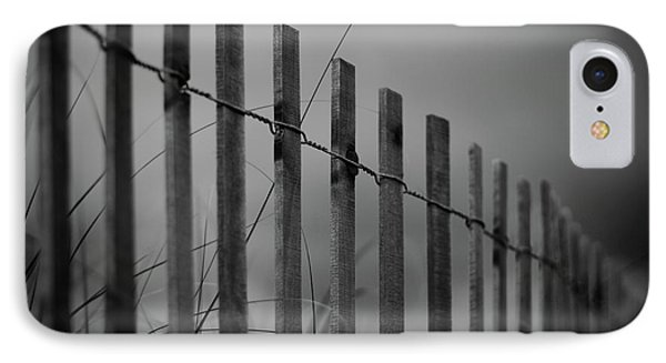 IPhone Case featuring the photograph Summer Storm Beach Fence Mono by Laura Fasulo
