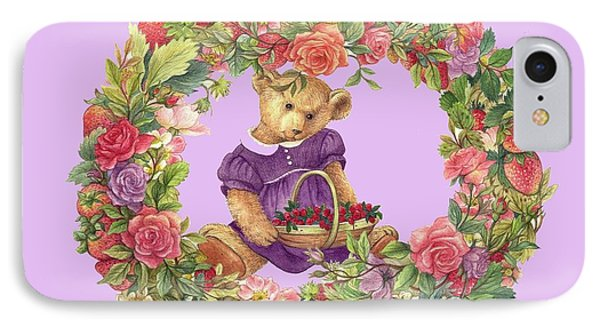 IPhone Case featuring the painting Summer Teddy Bear With Roses by Judith Cheng