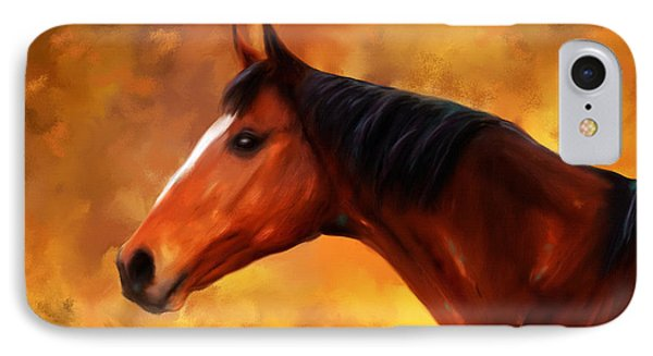 Summers End Quarter Horse Painting IPhone Case by Michelle Wrighton