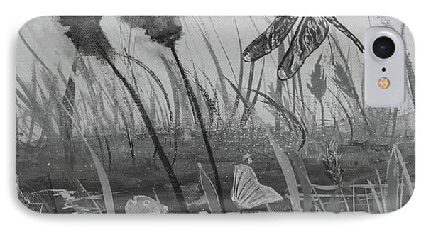 IPhone Case featuring the painting Summertime Dragonfly Black And White by Robin Maria Pedrero