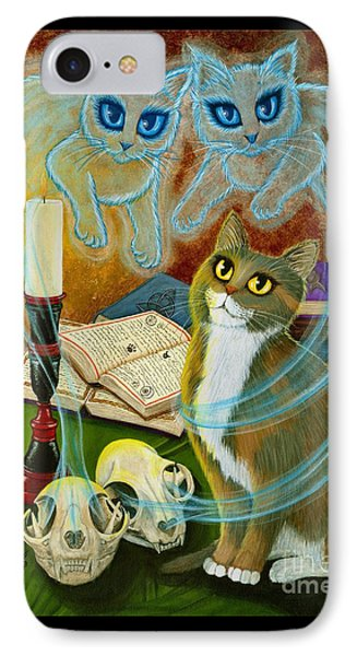 IPhone Case featuring the painting Summoning Old Friends - Ghost Cats Magic by Carrie Hawks