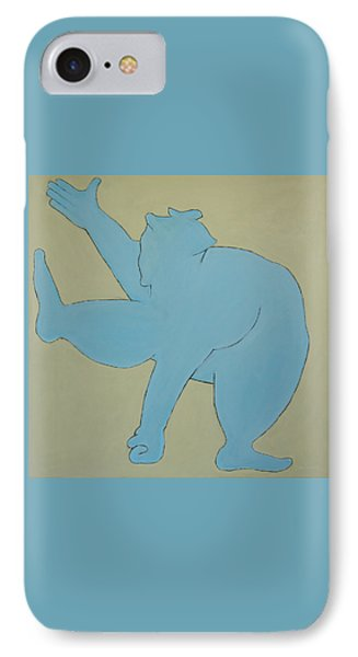IPhone Case featuring the painting Sumo Wrestler In Blue by Ben Gertsberg
